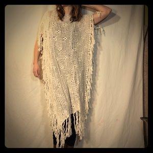 Free People Cream Crochet Knit Poncho